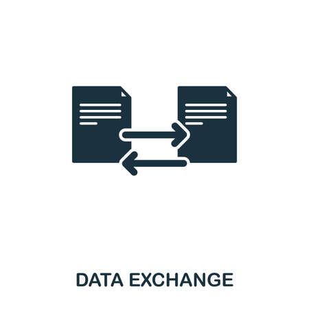 Data Exchange icon. Line style icon design. UI. Illustration of data exchange icon. Pictogram isolated on white. Ready to use in web design, apps, software, print. Фото со стока