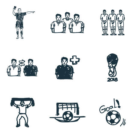 Football icons set. Goal icon, football referee icon, football fan icon and more. Premium quality symbol collection. Succer icon set simple elements. Stock Photo