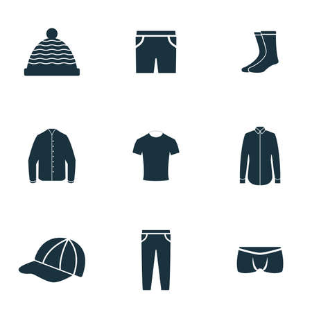 Clothes icons set. Hat icon, Shirt icon, Underpants icon and more. Premium quality symbol collection. Clothes icon set simple elements.