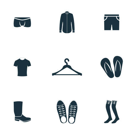 Clothes icons set. Shoes icon, hanger icon, flip flops icon and more. Premium quality symbol collection. Clothes icon set simple elements. Stock Photo