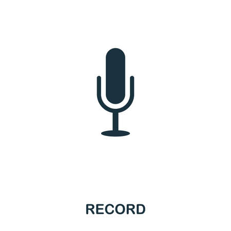 Record icon. Line style icon design. UI. Illustration of record icon. Pictogram isolated on white. Ready to use in web design, apps, software, print