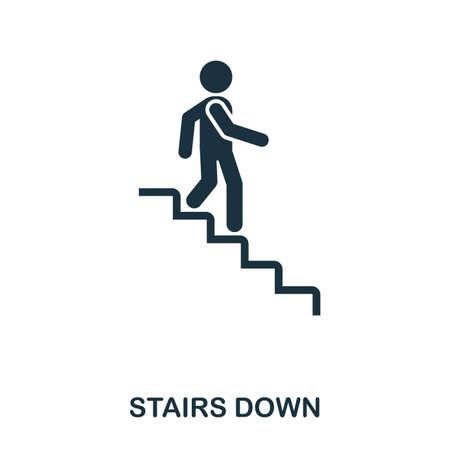Treppen runter Symbol. Linienstil-Symbolentwurf. Benutzeroberfläche. Illustration des Treppenabwärtssymbols. Piktogramm isoliert auf weiß. Bereit für Webdesign, Apps, Software und Druck Vektorgrafik