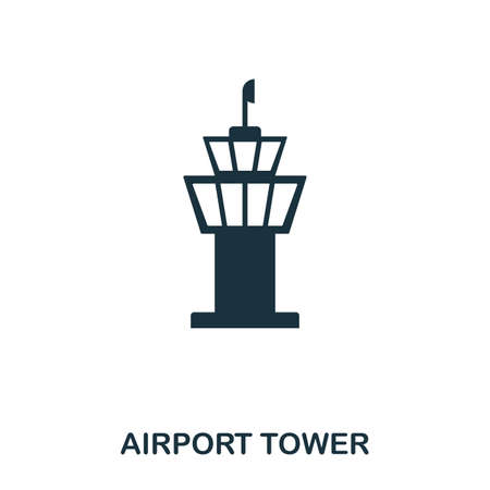 Airport Tower icon. Line style icon design. UI. Illustration of airport tower icon. Pictogram isolated on white. Ready to use in web design, apps, software, print