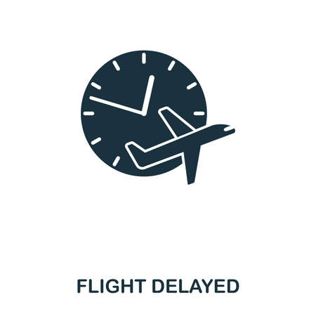 Flight Delayed icon. Line style icon design. UI. Illustration of flight delayed icon. Pictogram isolated on white. Ready to use in web design, apps, software, print