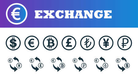 Money exchange icons set. UI and UX. Premium quality symbol collection. Money exchange icon set simple elements for using in app, print, software etc