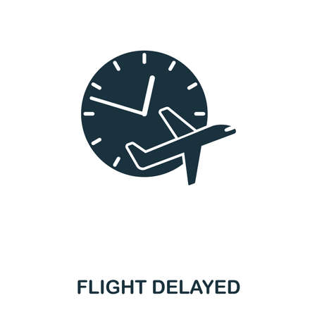 Flight Delayed icon. Line style icon design. UI. Illustration of flight delayed icon. Pictogram isolated on white. Ready to use in web design, apps, software, print Vektorové ilustrace
