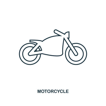 Motorcycle icon. Outline style icon design. UI. Illustration of motorcycle icon. Pictogram isolated on white. Ready to use in web design, apps, software, print, background.