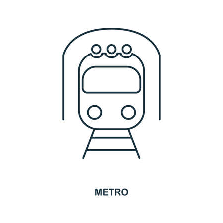 Metro icon. Outline style icon design. UI. Illustration of metro icon. Pictogram isolated on white. Ready to use in web design, apps, software, print, background. Stock Photo