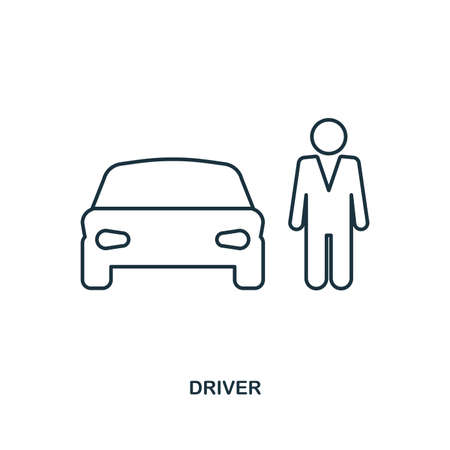 Car Driver icon. Outline style icon design. UI. Illustration of car driver icon. Pictogram isolated on white. Ready to use in web design, apps, software, print, background. Stock Photo
