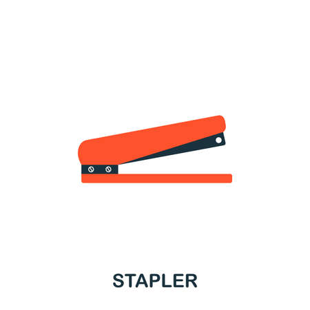 Stapler flat icon. Premium style flat icon design. UI. Illustration of stapler flat icon. Pictogram isolated on white. Ready to use in web design, apps, software, print Illustration
