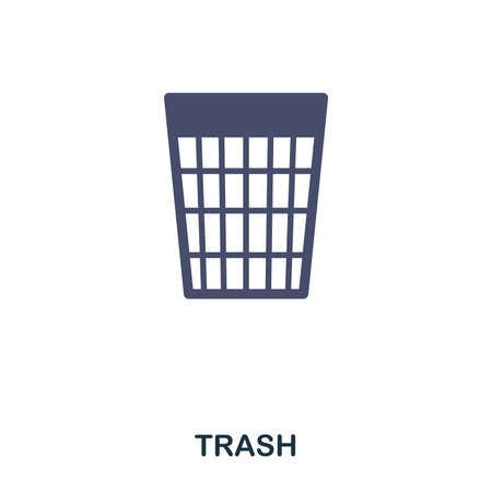 Trash flat icon. Premium style flat icon design. UI. Illustration of trash flat icon. Pictogram isolated on white. Ready to use in web design, apps, software, print Ilustracja