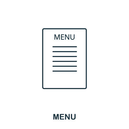 Menu icon. Outline style icon design. UI. Illustration of menu icon. Pictogram isolated on white. Ready to use in web design, apps, software, print. Stok Fotoğraf