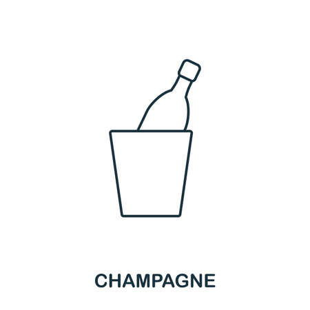Champagne icon. Outline style icon design. UI. Illustration of champagne icon. Pictogram isolated on white. Ready to use in web design, apps, software, print. Stock Photo