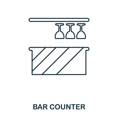 Bar Counter icon. Outline style icon design. UI. Illustration of bar counter icon. Pictogram isolated on white. Ready to use in web design, apps, software, print. Banque d'images - 105112552
