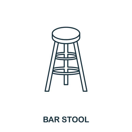 Bar Stool icon. Outline style icon design. UI. Illustration of bar stool icon. Pictogram isolated on white. Ready to use in web design, apps, software, print Illustration