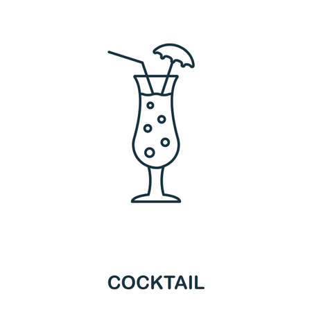 Cocktail icon. Outline style icon design. UI. Illustration of cocktail icon. Pictogram isolated on white. Ready to use in web design, apps, software, print. 版權商用圖片