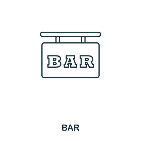 Bar icon. Outline style icon design. UI. Illustration of bar icon. Pictogram isolated on white. Ready to use in web design, apps, software, print
