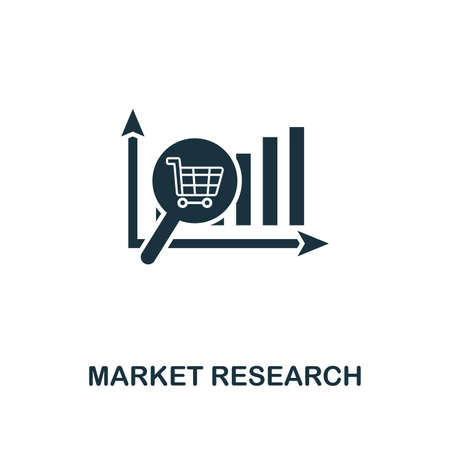 Market Research creative icon. Simple element illustration. Market Research concept symbol design from online marketing collection. For using in web design, apps, software, print