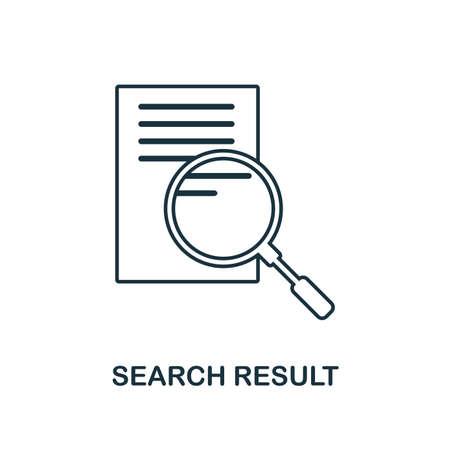 Kreatives Symbol für Suchergebnis. Einfache Elementillustration. Suchergebnis Konzept Symbol Design aus SEO Sammlung. Kann für Web, Mobile und Print verwendet werden. Webdesign, Apps, Software, Druck.