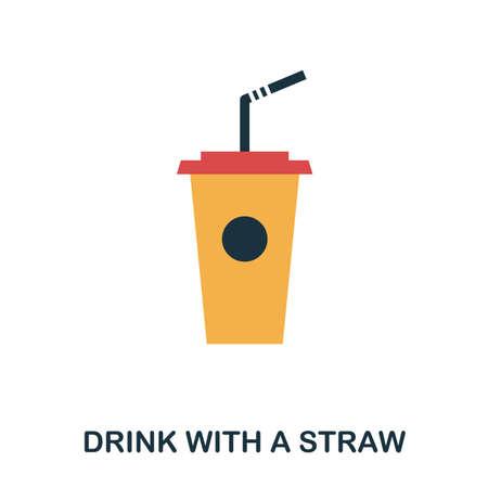 Boire avec une icône de paille. Applications mobiles, impression et plus d'utilisation. Élément simple chanter. Boisson monochrome avec une illustration d'icône de paille