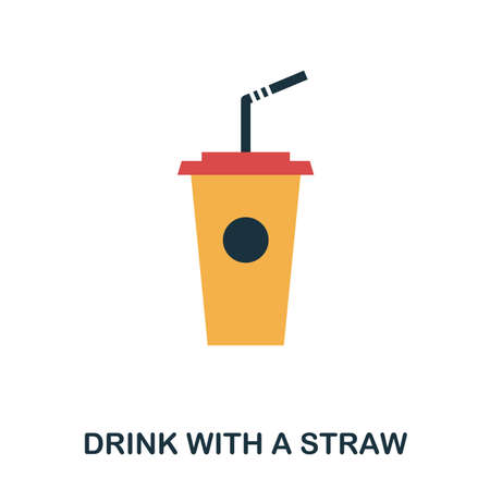 Drink With A Straw icon. Mobile apps, printing and more usage. Simple element sing. Monochrome Drink With A Straw icon illustration Иллюстрация