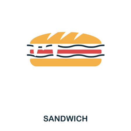 サンドイッチアイコン。モバイルアプリ、印刷、その他の利用状況。シンプルな要素の歌.モノクロサンドイッチアイコンイラスト
