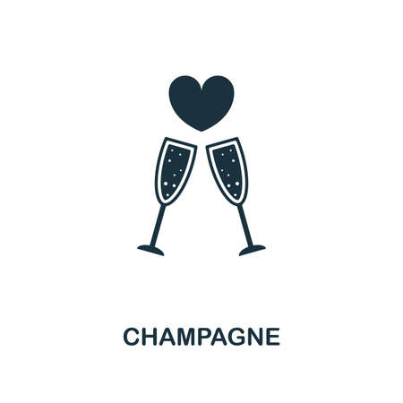 Champagne creative icon. Simple element illustration. Champagne concept symbol design from honeymoon collection. Can be used for mobile and web design, apps, software, print.