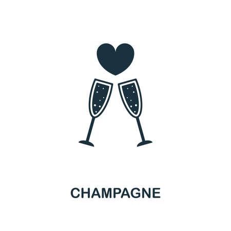 Icono creativo de champán. Ilustración de elemento simple. Diseño de colección de luna de miel en Champagne concepto símbolo. Se puede utilizar para diseño web y móvil, aplicaciones, software, impresión.
