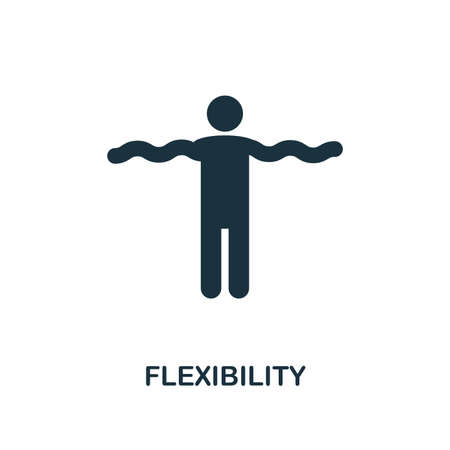 Kreatives Symbol für Flexibilität. Einfache Elementillustration. Flexibilitätskonzept-Symboldesign aus der Soft Skills-Sammlung. Kann für Mobil- und Webdesign, Apps, Software und Druck verwendet werden.