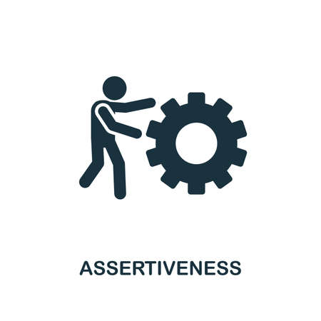 Assertiveness creative icon. Simple element illustration. Assertiveness concept symbol design from soft skills collection. Can be used for mobile and web design, apps, software, print. Stock Illustratie