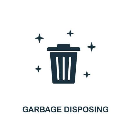 Icône de création d'élimination des déchets. Illustration d'élément simple. Conception de symbole de concept d'élimination des déchets de la collection de nettoyage. Peut être utilisé pour la conception mobile et Web, les applications, les logiciels, l'impression.