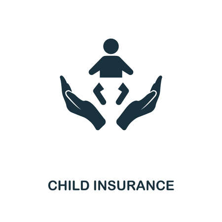 Child Insurance creative icon. Simple element illustration. Child Insurance concept symbol design from insurance collection. Can be used for mobile and web design, apps, software, print. Vectores