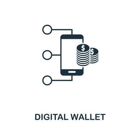 Ikona kreatywnych portfel cyfrowy. Prosta ilustracja elementu. Projekt symbolu koncepcji portfela cyfrowego z kolekcji finansów osobistych. Może być używany do projektowania mobilnego i internetowego, aplikacji, oprogramowania, drukowania.