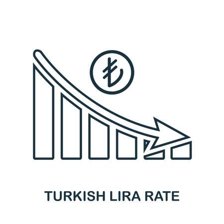Turkish Lira Rate Decrease Graphic icon. Mobile app, printing, web site icon. Simple element sing. Monochrome Turkish Lira Rate Decrease Graphic icon illustration