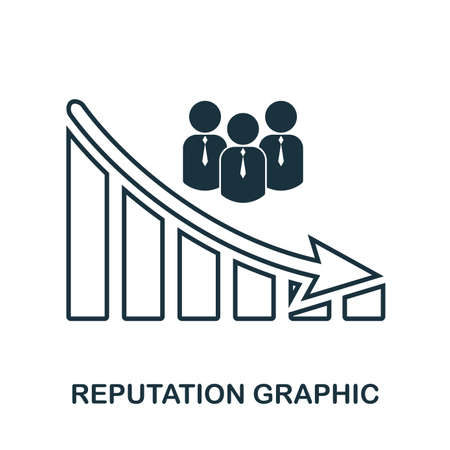 Reputation Decrease Graphic icon. Mobile app, printing, web site icon. Simple element sing. Monochrome Reputation Decrease Graphic icon illustration