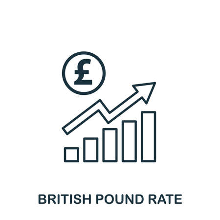 British Pound Rate Increase Graphic icon. Mobile apps, printing and more usage. Simple element sing. Monochrome British Pound Rate Increase Graphic icon illustration 版權商用圖片