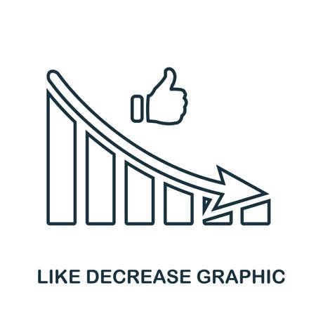 Like Decrease Graphic icon. Mobile app, printing, web site icon. Simple element sing. Monochrome Like Decrease Graphic icon illustration