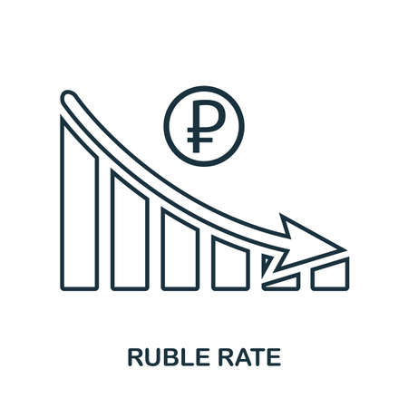 Ruble Rate Decrease Graphic icon. Mobile app, printing, web site icon. Simple element sing. Monochrome Ruble Rate Decrease Graphic icon illustration Çizim