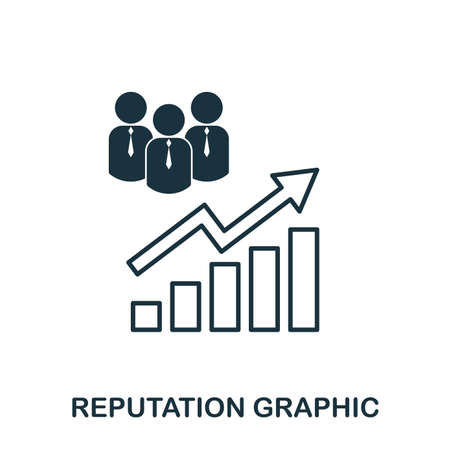Reputation Increase Graphic icon. Mobile apps, printing and more usage. Simple element sing. Monochrome Reputation Increase Graphic icon illustration