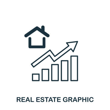Real Estate Increase Graphic icon. Mobile apps, printing and more usage. Simple element sing. Monochrome Real Estate Increase Graphic icon illustration 矢量图像