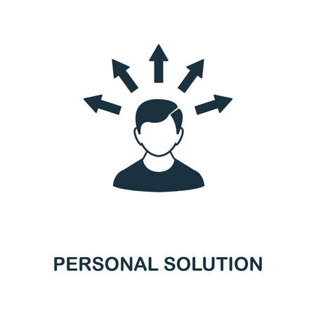 Personal Solution icon. Monochrome style icon design from project management icon collection. UI. Illustration of personal solution icon. Ready to use in web design, apps, software, print. Banque d'images - 106533008