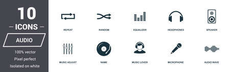 Audio controls icons set. Premium quality symbol collection. Audio controls icon set simple elements. Ready to use in web design, apps, software, print