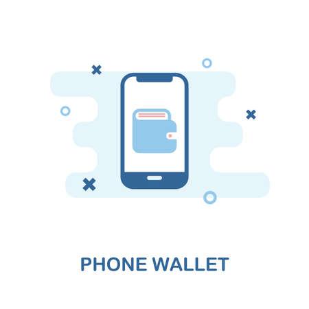 Handy-Wallet-kreatives Symbol. Einfache Elementabbildung. Phone Wallet Konzept Symbol Design aus der Handysammlung. Kann für Web, Mobile und Print verwendet werden. Webdesign, Apps, Software, Druck.