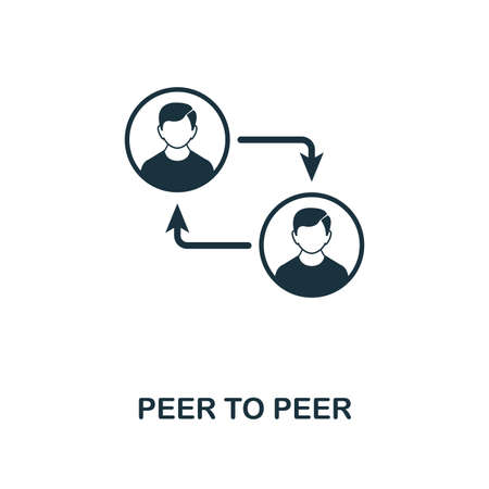 Peer To Peer icon. Monochrome style design from crypto currency collection. UI. Pixel perfect simple pictogram peer to peer icon. Web design, apps, software, print usage. Ilustracja