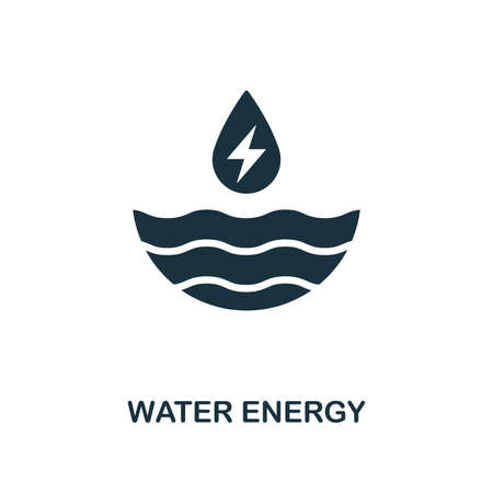 Water Energy icon. Monochrome style design from power and energy collection. UI. Pixel perfect simple pictogram water energy icon. Web design, apps, software, print usage. Vektorové ilustrace