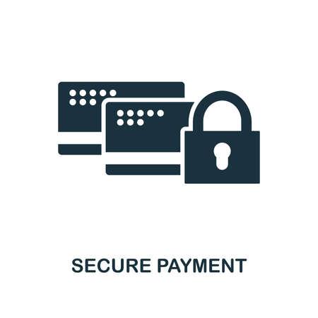 Icône de paiement sécurisé. Conception de style monochrome de la collection de sécurité Internet. UI. Icône de paiement sécurisé pixel parfait pictogramme simple. Conception Web, applications, logiciels, utilisation de l'impression.