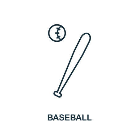 Baseball outline icon. Simple element illustration. Baseball icon in outline style design from sport equipment collection. Can be used for web, mobile and print. web design, apps, software, print.
