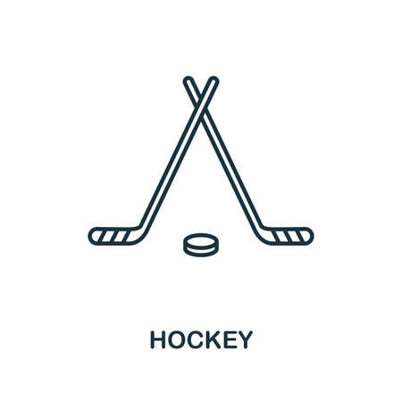 Hockey outline icon. Simple element illustration. Hockey icon in outline style design from sport equipment collection. Can be used for web, mobile and print. web design, apps, software, print.