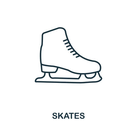 Skates outline icon. Simple element illustration. Skates icon in outline style design from sport equipment collection. Can be used for web, mobile and print. web design, apps, software, print.