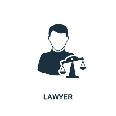 Lawyer icon. Monochrome style design from professions collection. UI. Pixel perfect simple pictogram lawyer icon. Web design, apps, software, print usage.